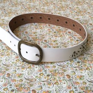 White Leather Embellished Belt